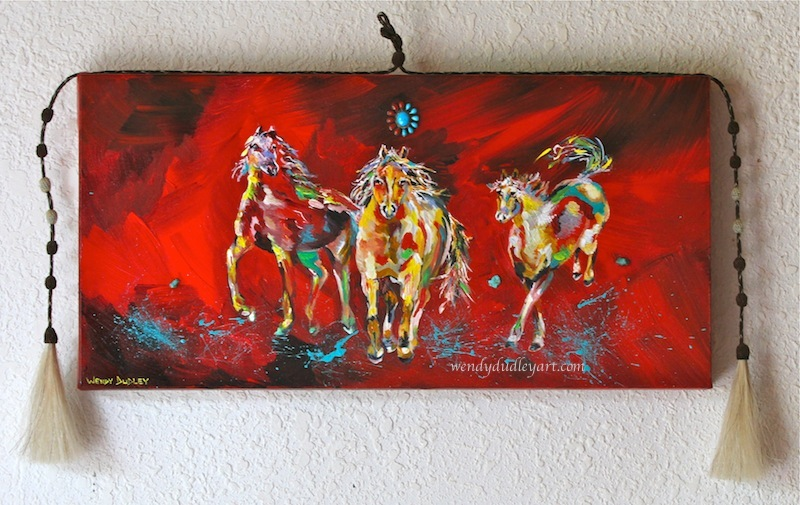 Los Caballos Salvajes 20 x 10 inches Multi-media with turquoise, coral and horse hair $525