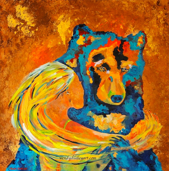Wendy Dudley art, Wendy Dudley painting, Wendy Dudley intuitive art, bear painting, mystical painting, spiritual painting