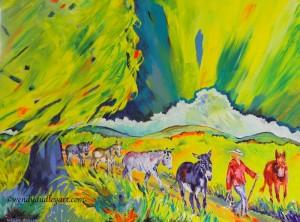 Mis Amigos. 24 x 18 ins. Original Acrylic. $900