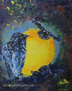 Wendy Dudley painting, art, raven