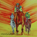 Triple Crown: Triple Courage, American Pharoah 20 x 20 ins SOLD