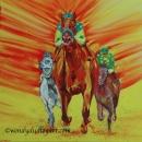 Triple Crown: Triple Courage, American Pharoah 20 x 20 ins SOLD