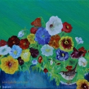 Minstrel Wren and Pansies 10 x 12 SOLD