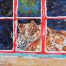 Church Cats Original Acrylic 8x10 SOLD